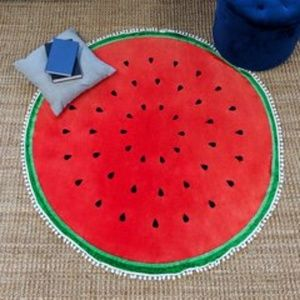 "Round Printed Throw 56"" Blanket, Watermelon"